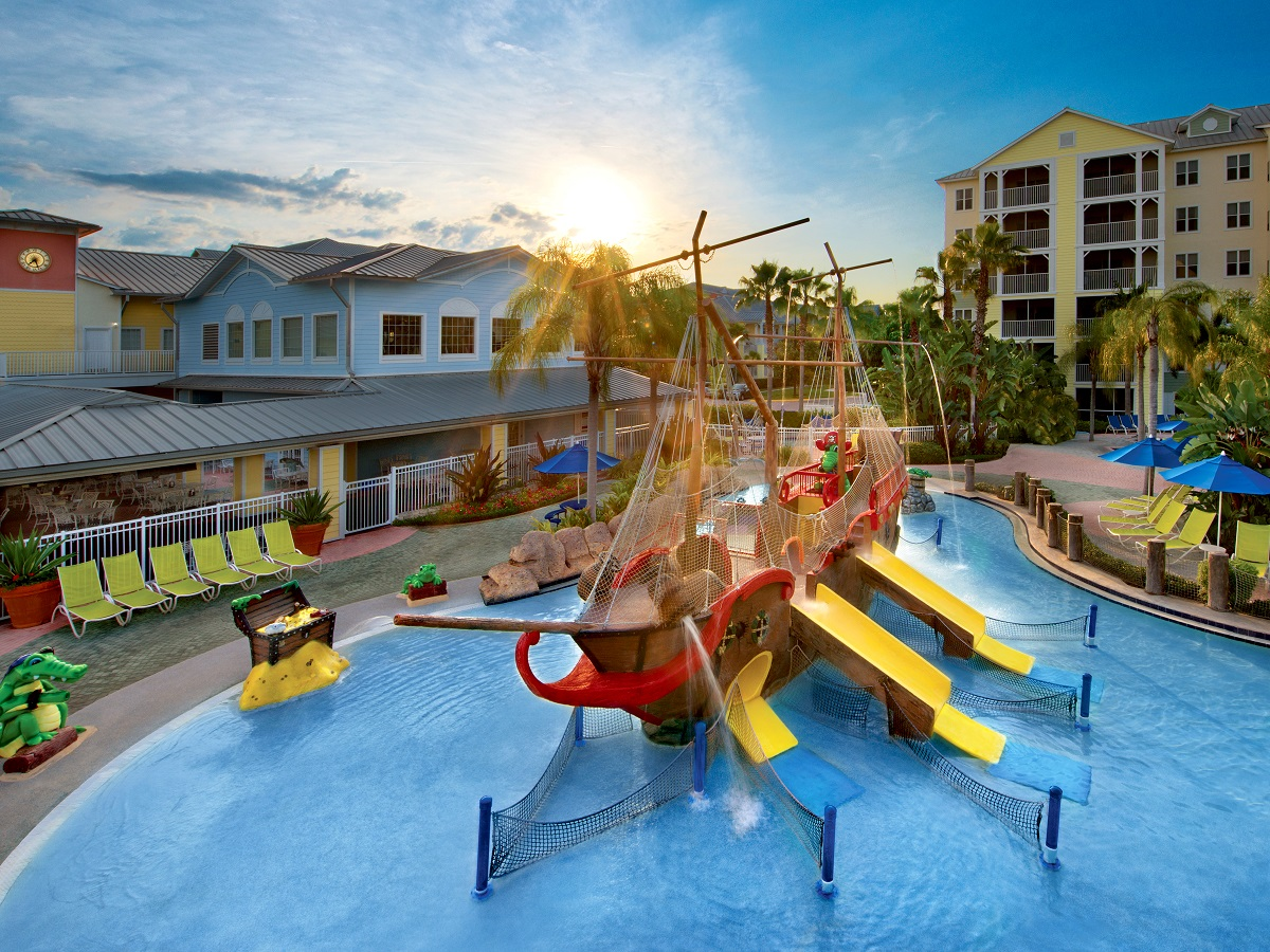 Pirate ship themed kid pool at Harbor Lake Resort in Orlando, Florida. Explore timeshare special offers.