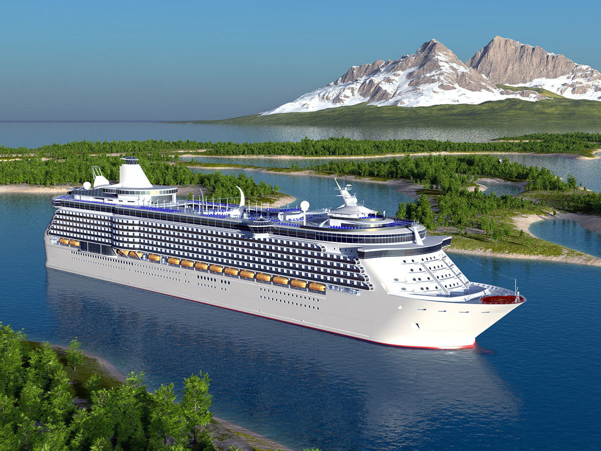 A luxury cruise ship on the water with blue skies above.