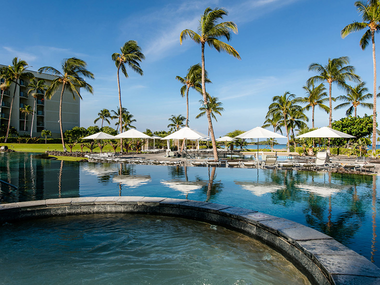 Tropical lagoon pool and hot tub in Waikoloa Beach on the Big Island.