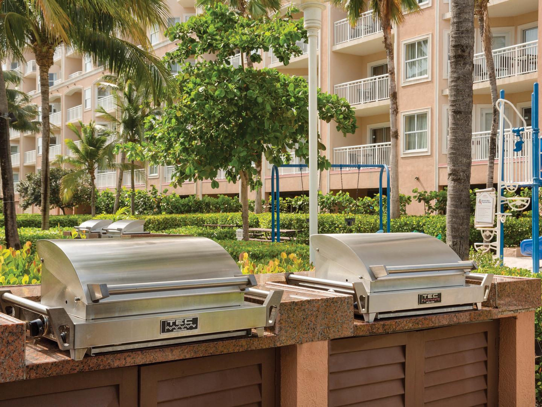 Marriott's Aruba Surf Club<span class='trademark'>®</span> Resort Grill Area. Marriott's Aruba Surf Club<span class='trademark'>®</span> is located in Palm Beach,  Aruba.
