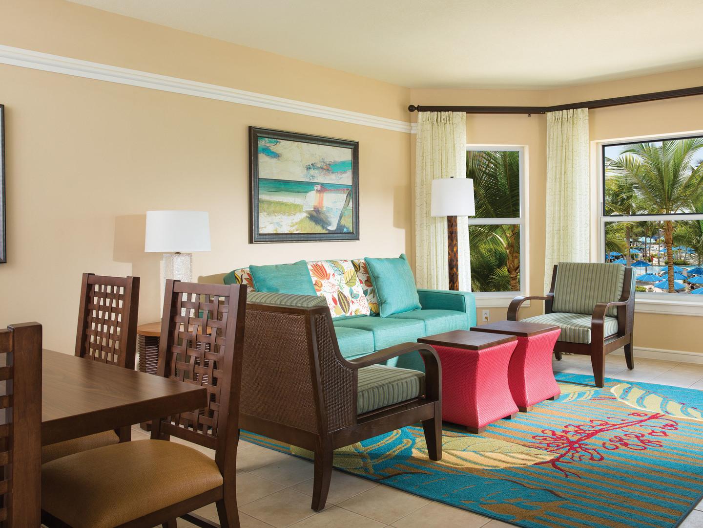 Marriott's Aruba Surf Club<span class='trademark'>®</span> Villa Living Room. Marriott's Aruba Surf Club<span class='trademark'>®</span> is located in Palm Beach,  Aruba.