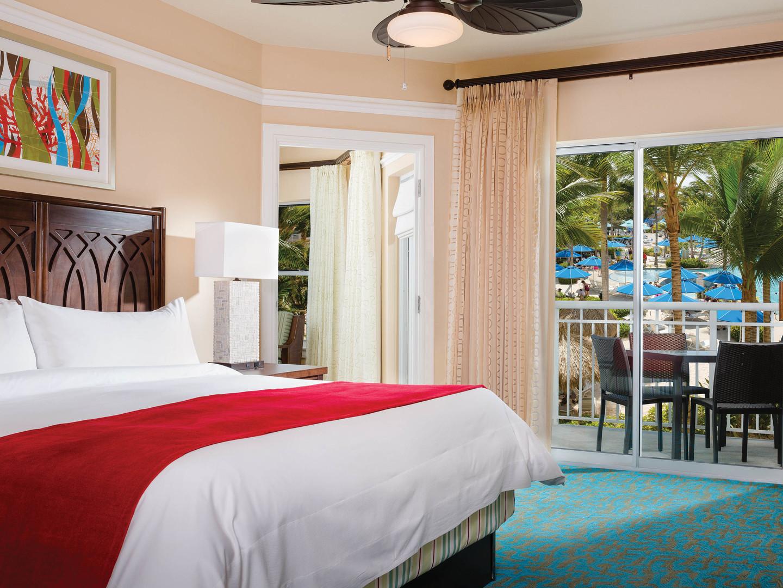 Marriott's Aruba Surf Club<span class='trademark'>®</span> Villa Master Bedroom. Marriott's Aruba Surf Club<span class='trademark'>®</span> is located in Palm Beach,  Aruba.
