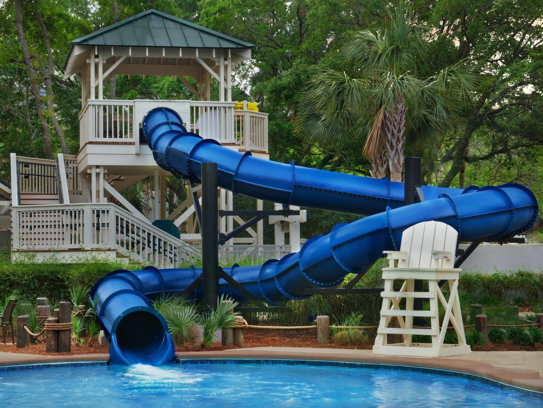 Marriott's Barony Beach Club Blues Lagoon Slides. Marriott's Barony Beach Club is located in Hilton Head Island, South Carolina United States.