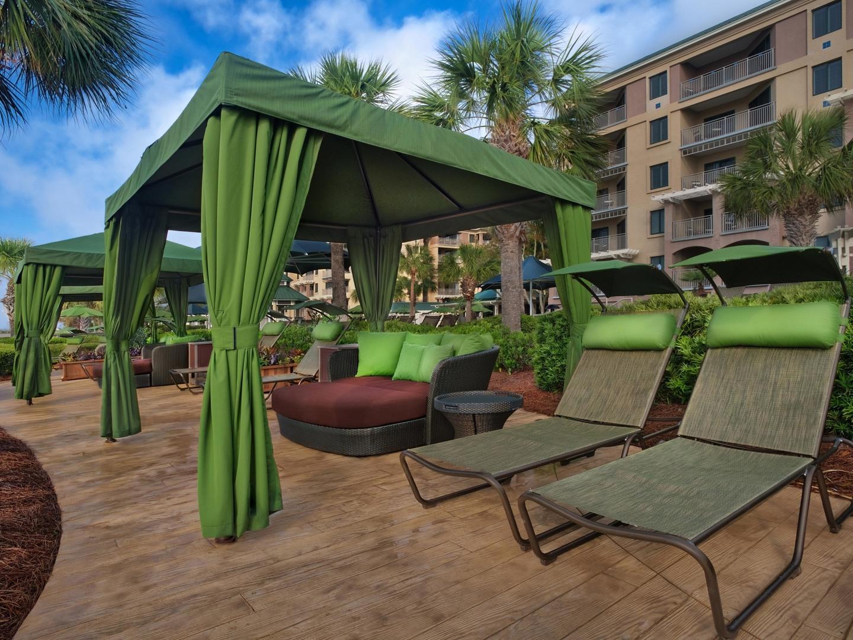 Marriott's Barony Beach Club Poolside Cabana. Marriott's Barony Beach Club is located in Hilton Head Island, South Carolina United States.
