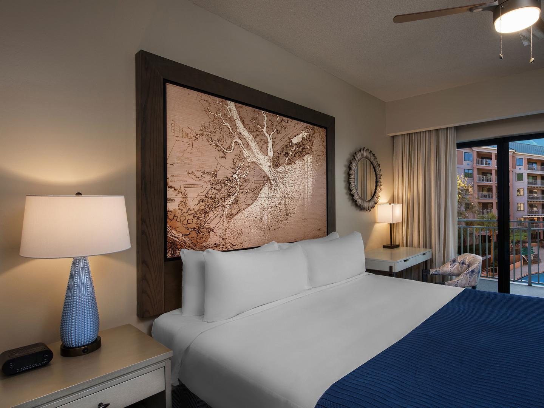Marriott's Barony Beach Club Villa Master Bedroom. Marriott's Barony Beach Club is located in Hilton Head Island, South Carolina United States.
