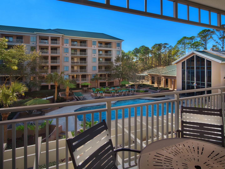 Marriott's Barony Beach Club Villa Balcony. Marriott's Barony Beach Club is located in Hilton Head Island, South Carolina United States.