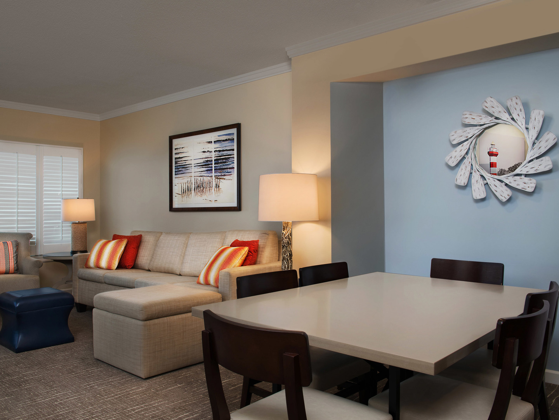 Marriott's Barony Beach Club Villa Living Room/Dining Room. Marriott's Barony Beach Club is located in Hilton Head Island, South Carolina United States.