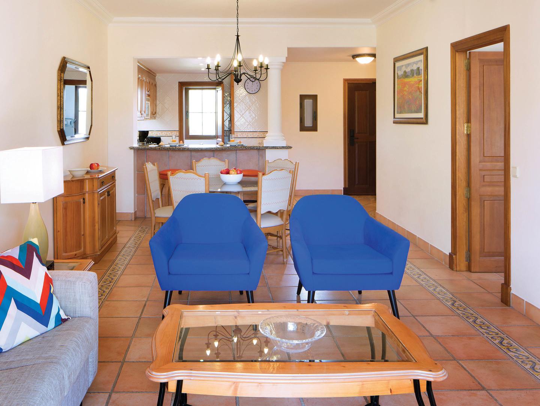 Marriott's Club Son Antem Villa Living Room/Kitchen. Marriott's Club Son Antem is located in Mallorca,  Spain.