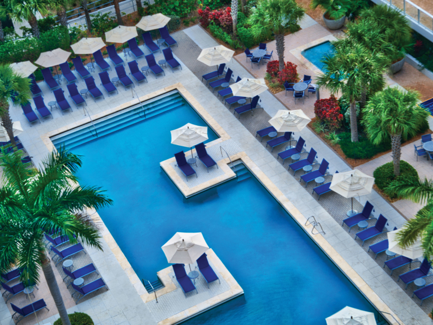 Marriott's Crystal Shores Resort Pool View from Above. Marriott's Crystal Shores is located in Marco Island, Florida United States.