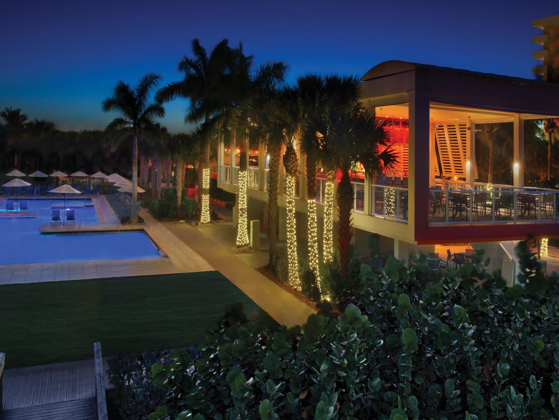 Marriott's Crystal Shores Stilts Restaurant Exterior. Marriott's Crystal Shores is located in Marco Island, Florida United States.