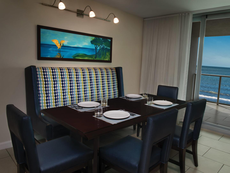 Marriott's Crystal Shores Villa Dining Room. Marriott's Crystal Shores is located in Marco Island, Florida United States.