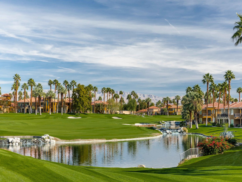 Marriott's Desert Springs Villas Resort Exterior View from Golf Course. Marriott's Desert Springs Villas is located in Palm Desert, California United States.