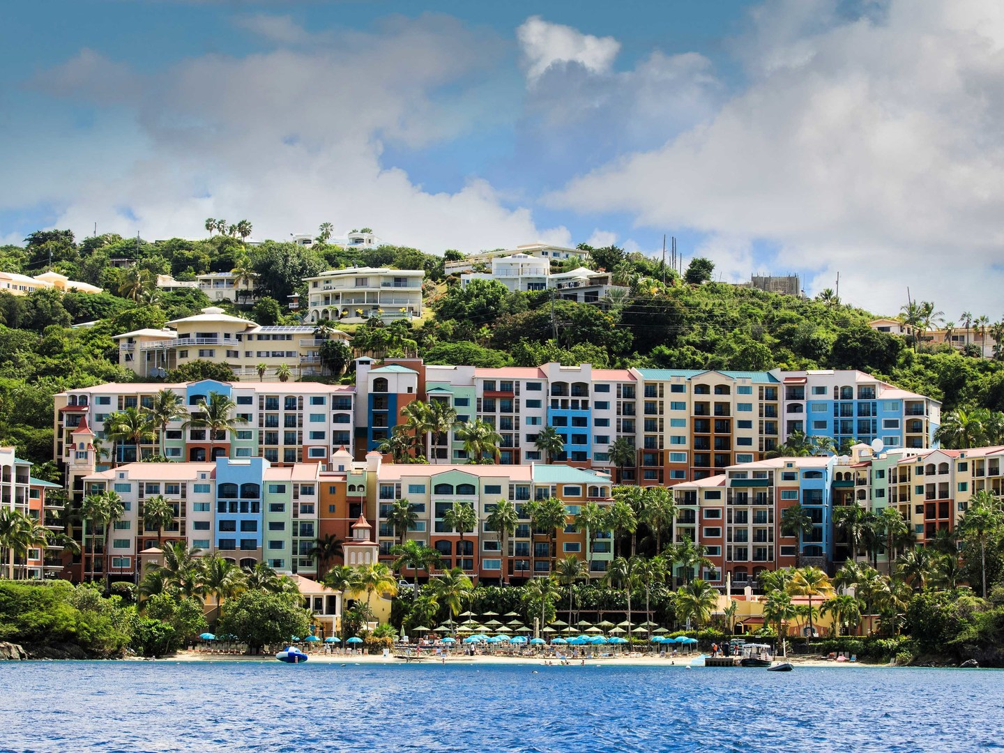 Marriott's Frenchman's Cove View from Bay. Marriott's Frenchman's Cove is located in St. Thomas, US Virgin Islands United States.