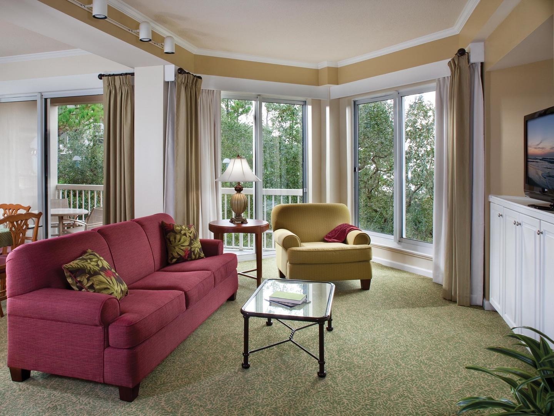 Marriott's Harbour Club Villa Living Room. Marriott's Harbour Club is located in Hilton Head Island, South Carolina United States.