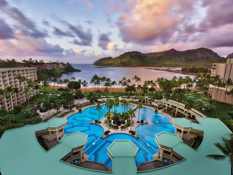 Marriott's Kaua'i Beach Club Aerial Resort View. Marriott's Kaua'i Beach Club is located in Līhuʻe, Kaua'i, Hawai'i United States.