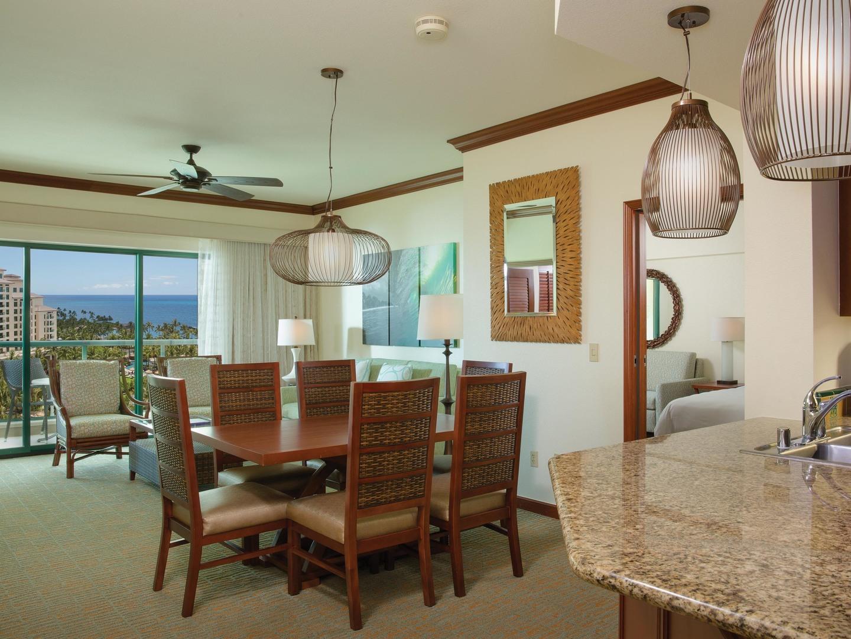 Marriott's Ko Olina Beach Club Dining Room/Living Room (Kona Villa). Marriott's Ko Olina Beach Club is located in Kapolei, O'ahu, Hawai'i United States.