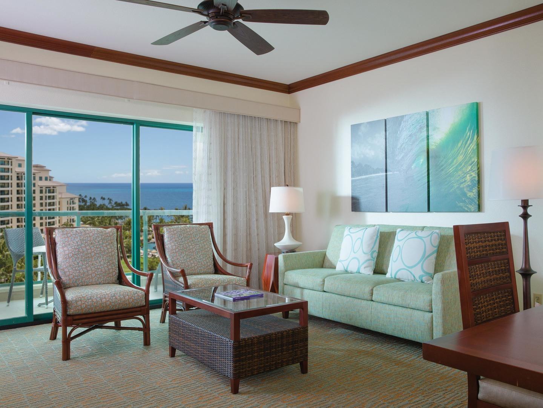 Marriott's Ko Olina Beach Club Living Room (Kona Villa). Marriott's Ko Olina Beach Club is located in Kapolei, O'ahu, Hawai'i United States.