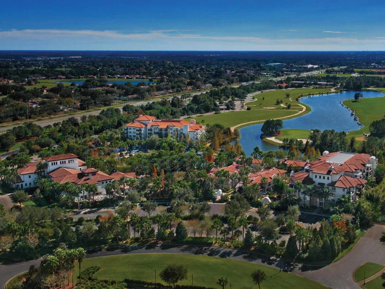 Marriott's Lakeshore Reserve Aerial Resort View. Marriott's Lakeshore Reserve is located in Orlando, Florida United States.