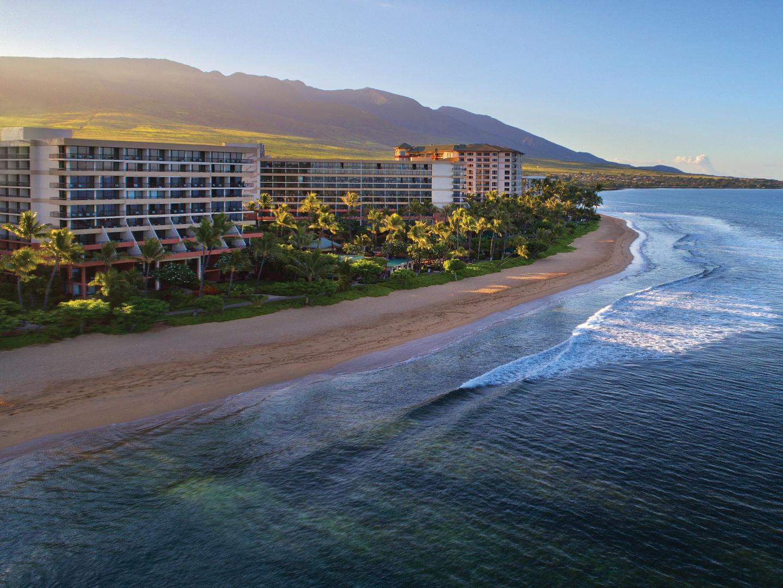 Marriott's Maui Ocean Club - Molokai, Maui, and Lanai Towers Aerial Resort View. Marriott's Maui Ocean Club - Molokai, Maui, and Lanai Towers is located in Lāhainā, Maui, Hawai'i United States.