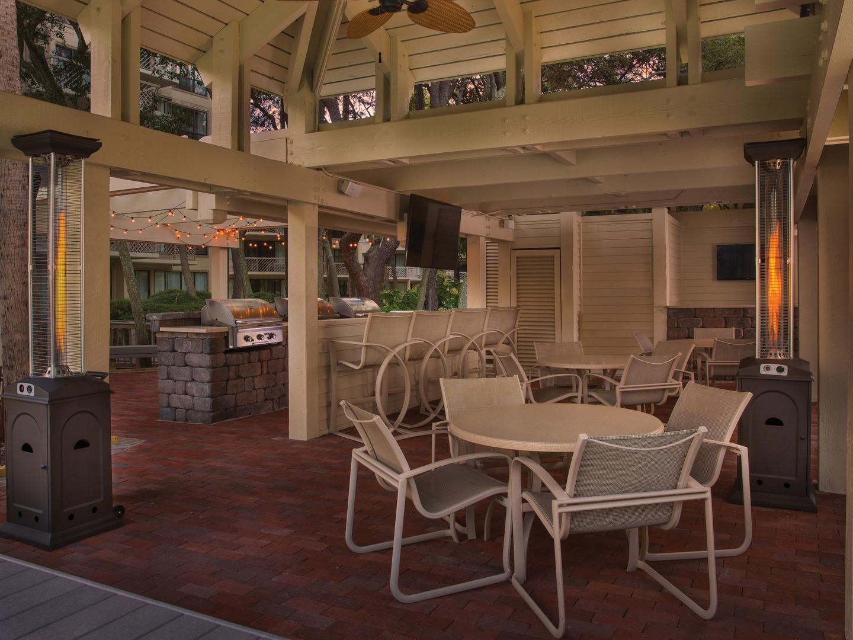 Marriott's Monarch Patio. Marriott's Monarch is located in Hilton Head Island, South Carolina United States.