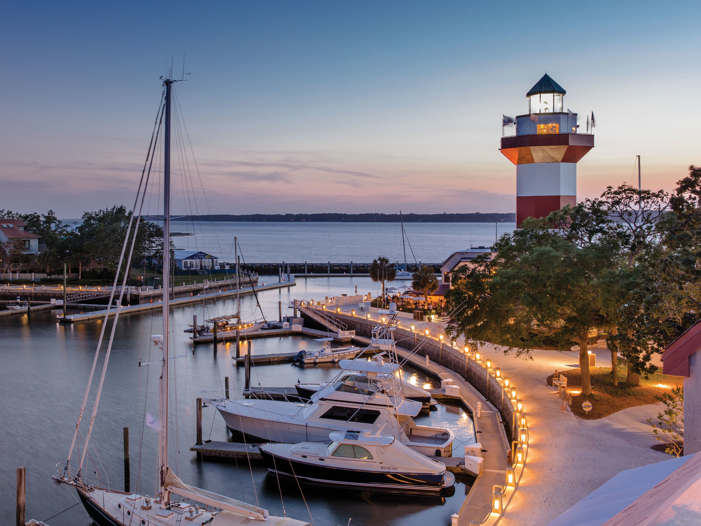 Marriott's Monarch Harbour Town Light House. Marriott's Monarch is located in Hilton Head Island, South Carolina United States.
