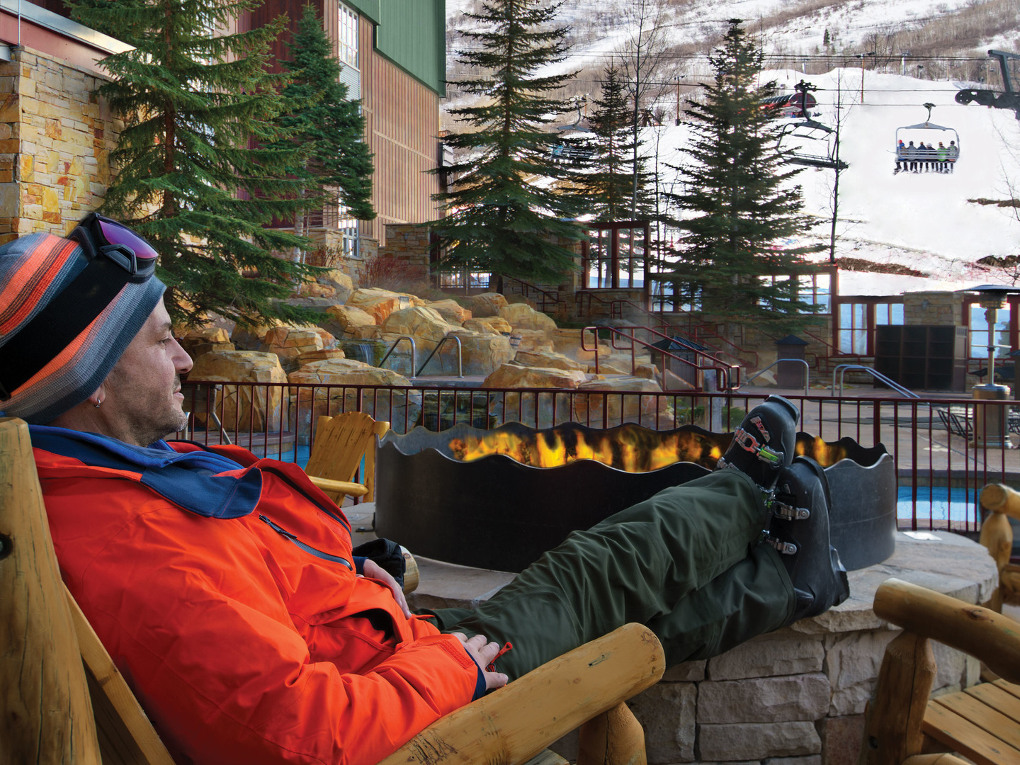 Marriott's MountainSide Fire Pit. Marriott's MountainSide is located in Park City, Utah United States.