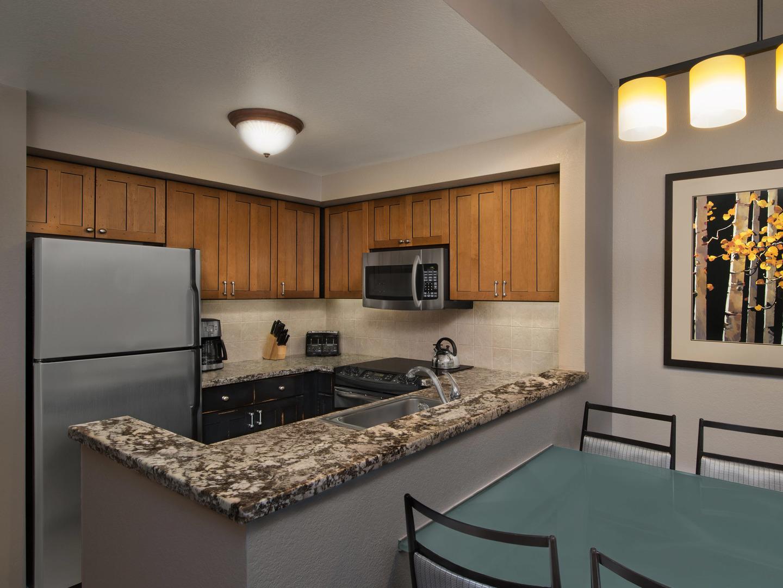 Marriott's MountainSide Villa Kitchen. Marriott's MountainSide is located in Park City, Utah United States.