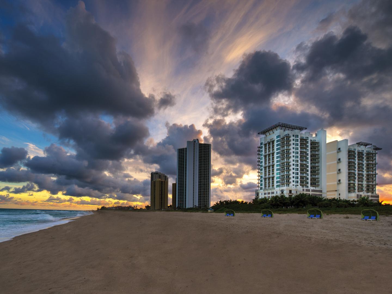 Marriott's Oceana Palms Resort View from Atlantic Ocean. Marriott's Oceana Palms is located in Riviera Beach, Florida United States.
