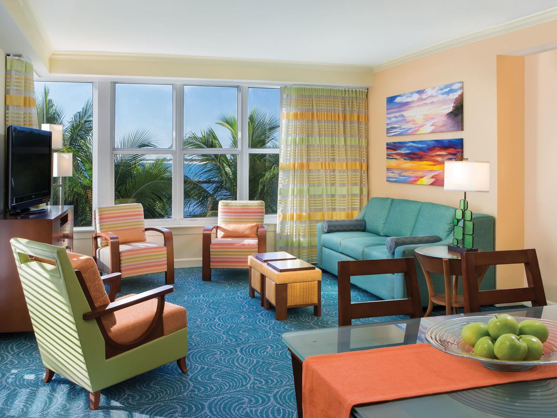 Marriott's Ocean Pointe Villa Living Room. Marriott's Ocean Pointe is located in Palm Beach Shores, Florida United States.