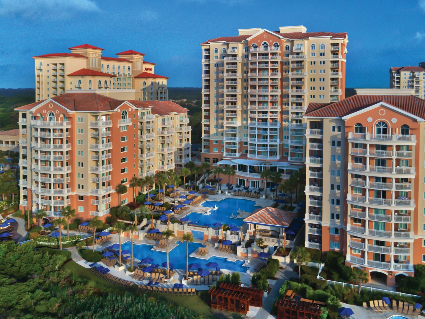 Marriott's OceanWatch Aerial Exterior View. Marriott's OceanWatch is located in Myrtle Beach, South Carolina United States.