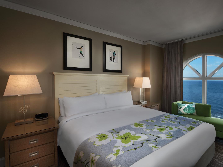 Marriott's OceanWatch Villa Master Bedroom. Marriott's OceanWatch is located in Myrtle Beach, South Carolina United States.