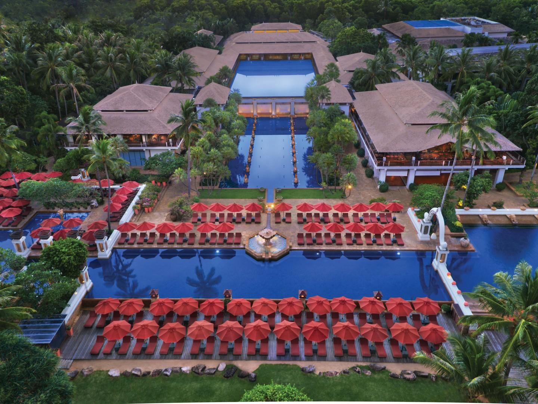 Marriott's Phuket Beach Club Aerial View Resort Main Pool. Marriott's Phuket Beach Club is located in Mai Khao Beach, Phuket Thailand.