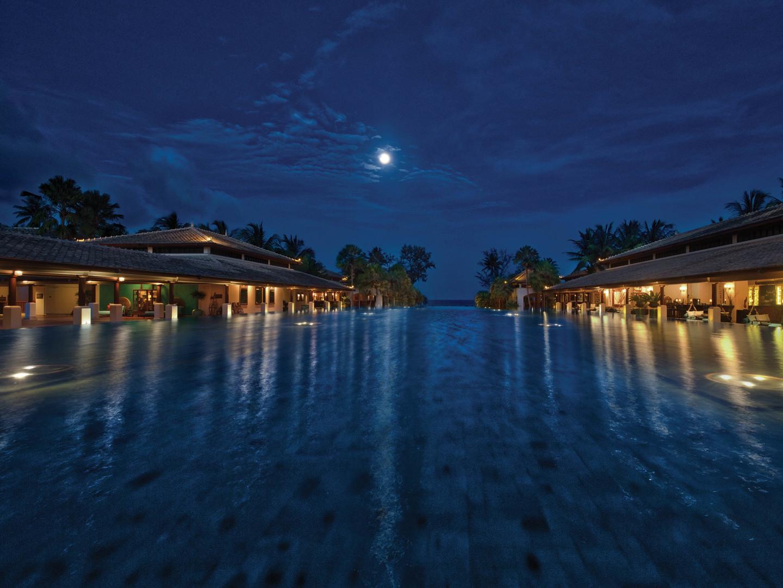 Marriott's Phuket Beach Club Reflection Pond. Marriott's Phuket Beach Club is located in Mai Khao Beach, Phuket Thailand.