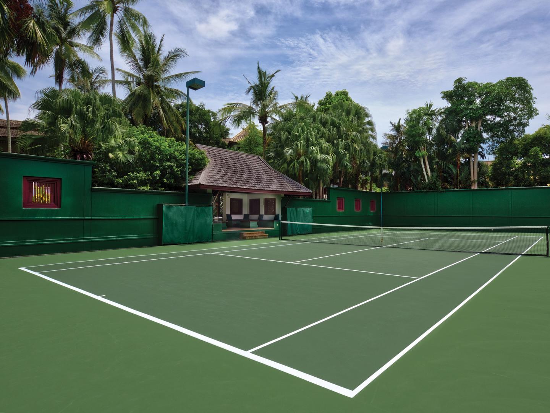 Marriott's Phuket Beach Club Tennis Courts. Marriott's Phuket Beach Club is located in Mai Khao Beach, Phuket Thailand.