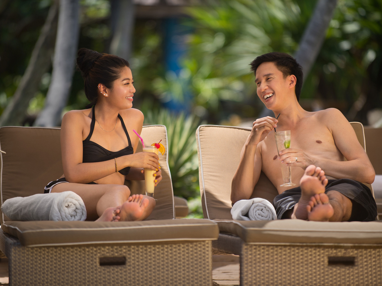 Marriott's Phuket Beach Club Poolside Cocktails. Marriott's Phuket Beach Club is located in Mai Khao Beach, Phuket Thailand.