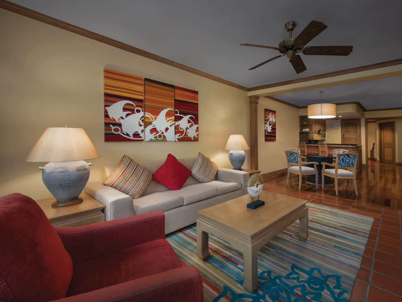 Marriott's Phuket Beach Club Villa Living Room. Marriott's Phuket Beach Club is located in Mai Khao Beach, Phuket Thailand.