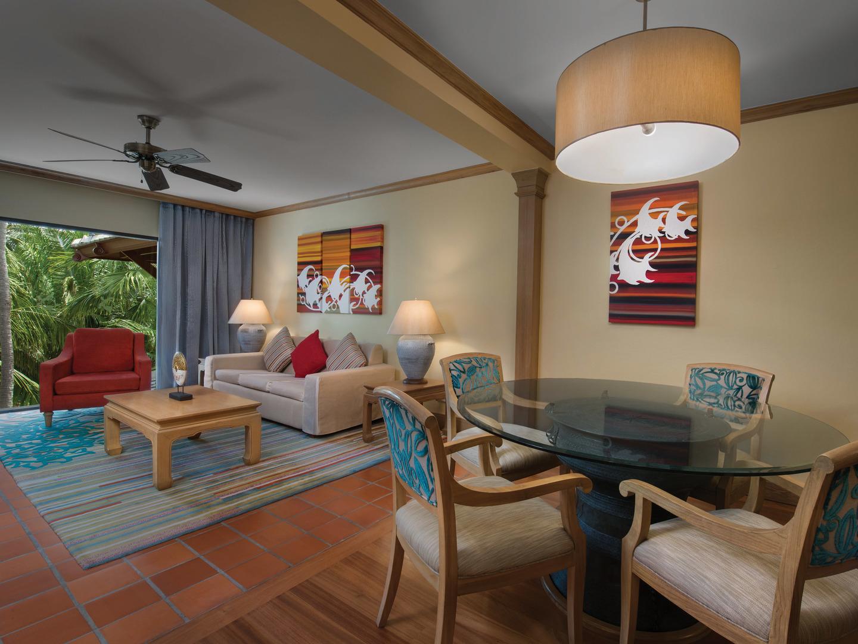 Marriott's Phuket Beach Club Villa Living Room/Dining Room. Marriott's Phuket Beach Club is located in Mai Khao Beach, Phuket Thailand.