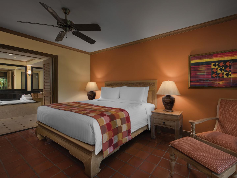 Marriott's Phuket Beach Club Villa Master Bedroom. Marriott's Phuket Beach Club is located in Mai Khao Beach, Phuket Thailand.