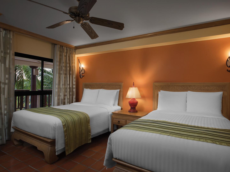 Marriott's Phuket Beach Club Villa Guest Bedroom - Double Double. Marriott's Phuket Beach Club is located in Mai Khao Beach, Phuket Thailand.