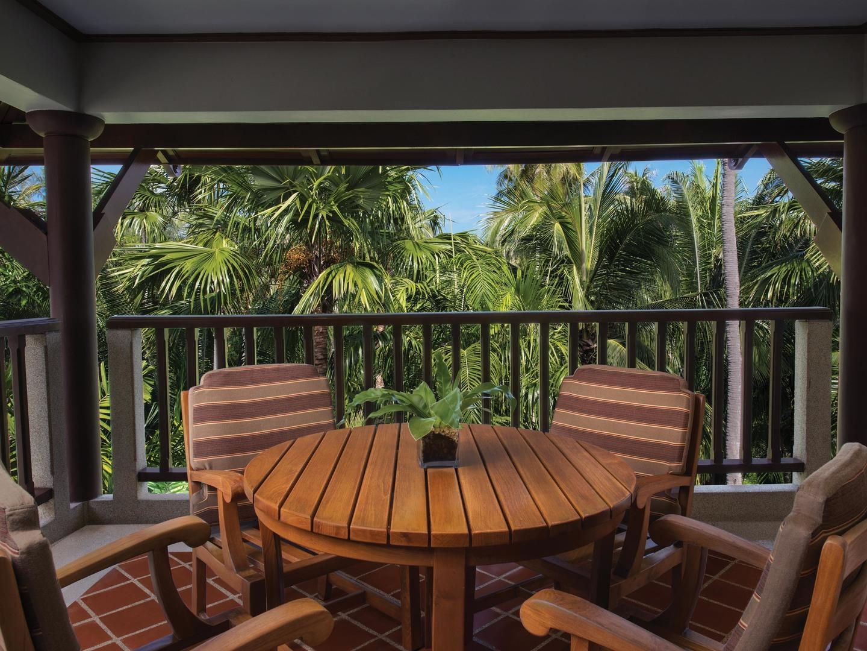 Marriott's Phuket Beach Club Villa Patio. Marriott's Phuket Beach Club is located in Mai Khao Beach, Phuket Thailand.