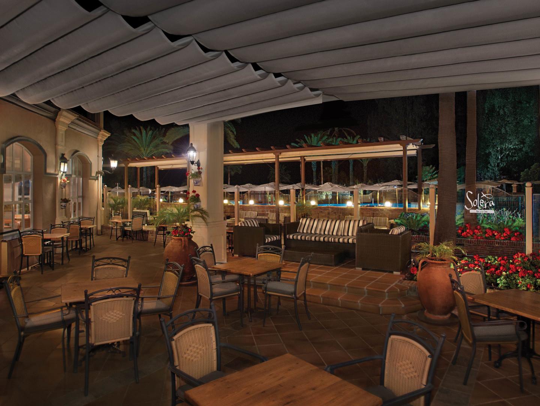 Marriott's Playa Andaluza Solera Restaurant Patio. Marriott's Playa Andaluza is located in Estepona, Malaga Spain.