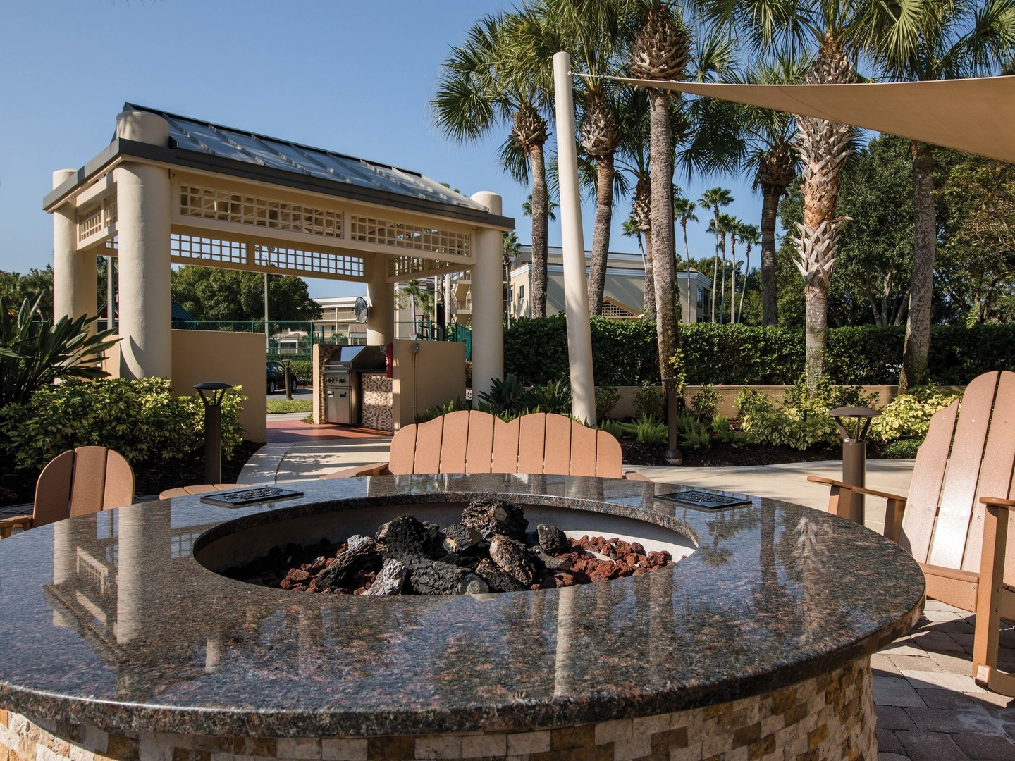 Marriott's Royal Palms Fire Pit. Marriott's Royal Palms is located in Orlando, Florida United States.