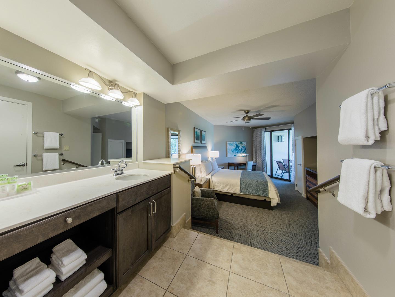 Marriott's Sabal Palms 2-Bedroom Villa Master Bathroom. Marriott's Sabal Palms is located in Orlando, Florida United States.