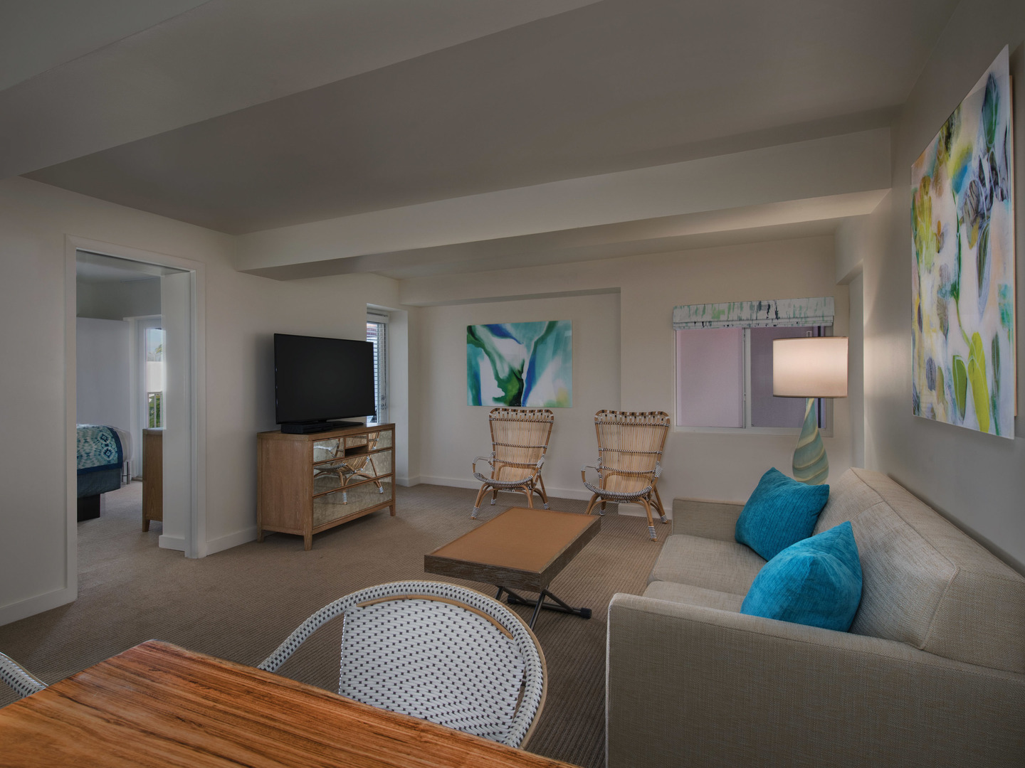 Marriott Vacation Club Pulse<span class='trademark'>®</span>, South Beach 2-Bedroom Suite Living Room. Marriott Vacation Club Pulse<span class='trademark'>®</span>, South Beach is located in Miami Beach, Florida United States.