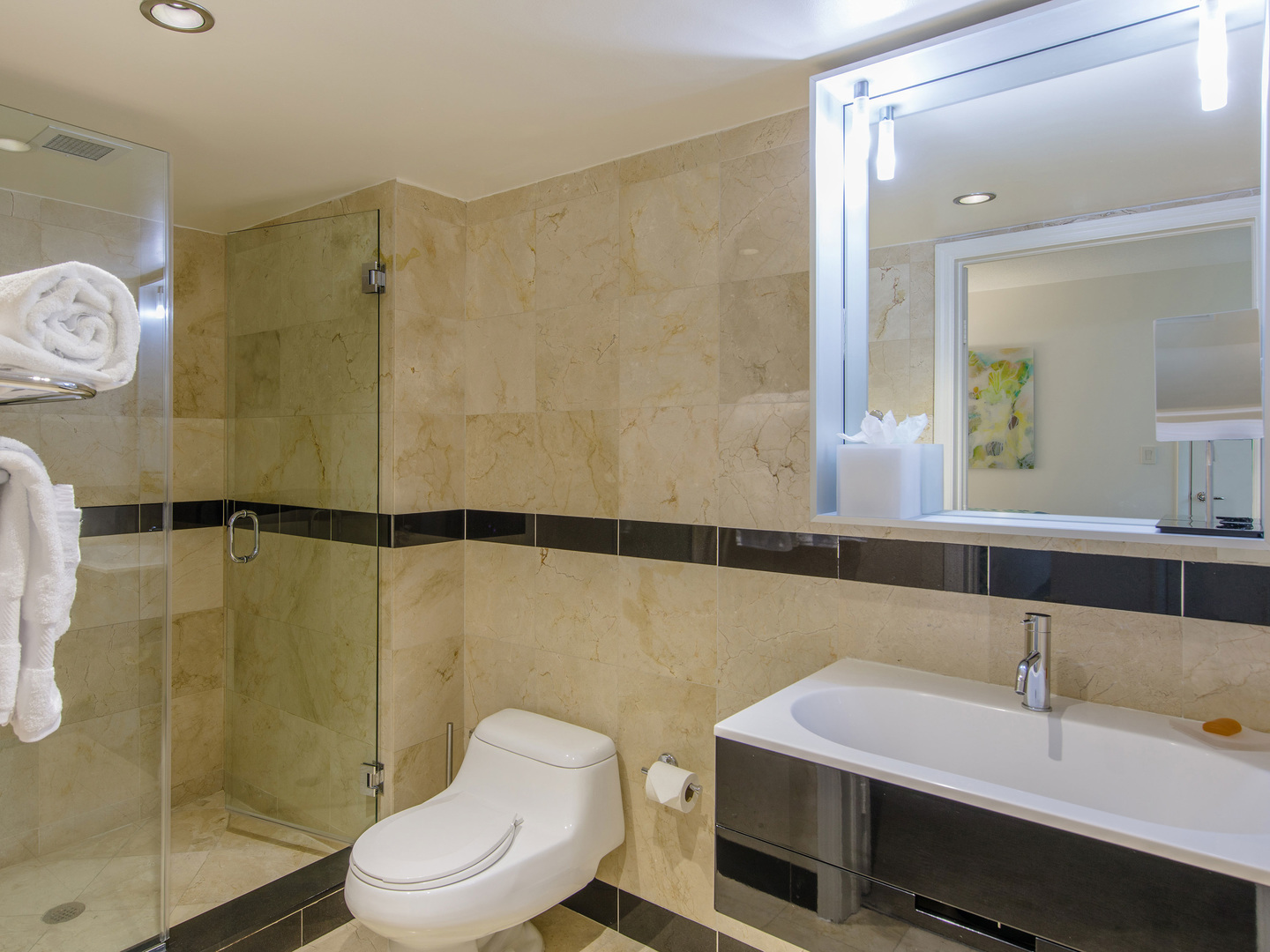 Marriott Vacation Club Pulse<span class='trademark'>®</span>, South Beach Studio Suite Bathroom. Marriott Vacation Club Pulse<span class='trademark'>®</span>, South Beach is located in Miami Beach, Florida United States.