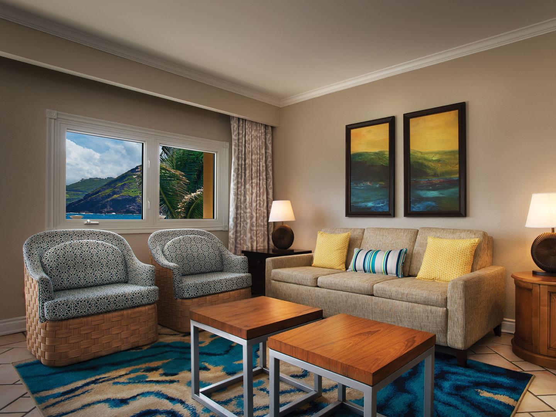 Marriott's St. Kitts Beach Club Villa Living Room. Marriott's St. Kitts Beach Club is located in St. Kitts,  St. Kitts and Nevis.