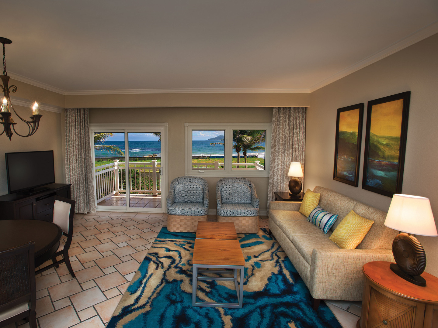 Marriott's St. Kitts Beach Club Villa Guest Living Room. Marriott's St. Kitts Beach Club is located in St. Kitts,  St. Kitts and Nevis.