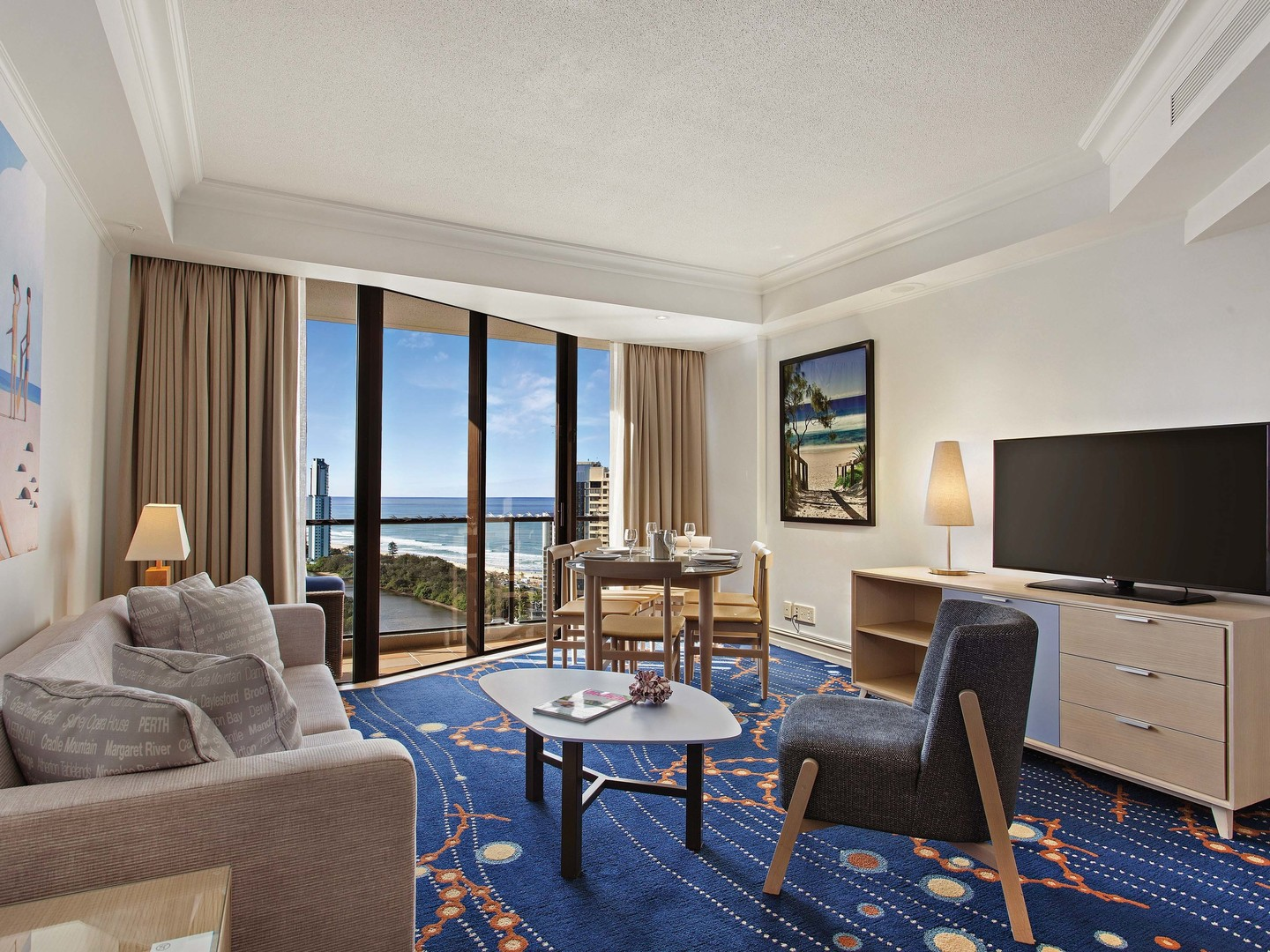 Marriott Vacation Club<span class='trademark'>℠</span> at Surfers Paradise Suite Living Room. Marriott Vacation Club<span class='trademark'>℠</span> at Surfers Paradise is located in Gold Coast, Surfers Paradise Australia.