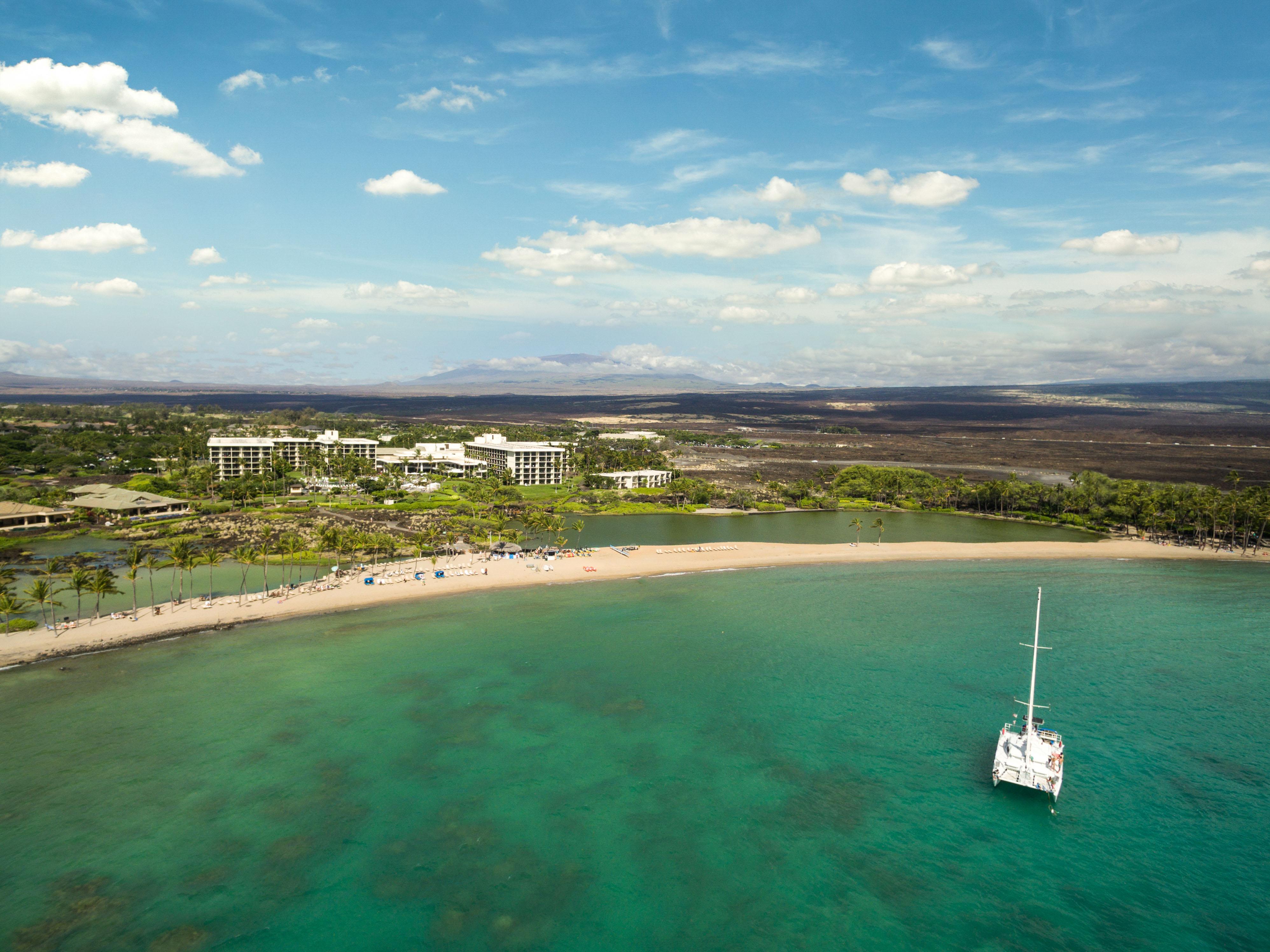 Marriott's Waikoloa Ocean Club Aerial Resort View. Marriott's Waikoloa Ocean Club is located in Waikoloa Beach, Big Island, Hawai'i United States.