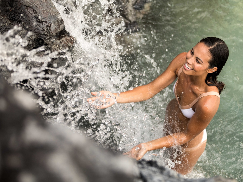 Marriott's Waikoloa Ocean Club Waterfall Pool. Marriott's Waikoloa Ocean Club is located in Waikoloa Beach, Big Island, Hawai'i United States.